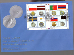 2008 Flag Coin Latviija Poland Portugal Cyprus Sweden Qatar Complete Block On Large FDC (156) - FDC