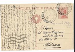 AMB.POSTALE CAGLIARI TERRANOVA ( A ) - 23 - PER MILANO. - Interi Postali