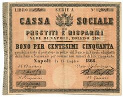 50 CENTESIMI FIDUCIARIO CASSA SOCIALE PRESTITI E RISPARMI NAPOLI 15/07/1866 BB+ - [ 1] …-1946 : Regno