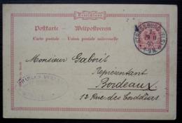Strasbourg 1890 (Strassburg) Charles Müller, Pharmacien Droguiste, Carte Pour Bordeaux. - Marcofilia (sobres)