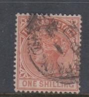 Trinidad And Tobago SG 112 1884 Queen Victoria One Shiling Orange Brown,used - Trinidad & Tobago (1962-...)