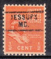 USA Precancel Vorausentwertung Preo, Bureau Maryland, Jessups 729 - Vereinigte Staaten