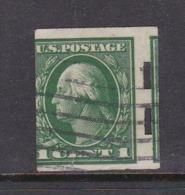 United States Scott 408 1912 Washington 1c Green Imperforated,used - Etats-Unis