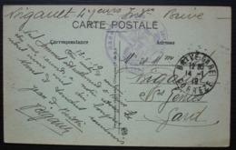 Gare De Brive 1919 Cachet Bleu Gare De Brive Le Commissaire Militaire Sur Cpa De Clermont Ferrand - Spoorwegpost