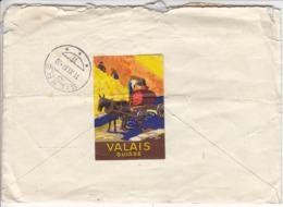 VALAIS SUISSE - SUPERBE VIGNETTE SUR VIEILLE LETTRE DE 1937 - Erinnofilie