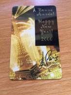 Hotelkarte Room Key Keycard Clef De Hotel Tarjeta Hotel   LAS VEGAS PARIS PARIS HAPPY NEW YEAR 2000 Millenium  V.I.P. - Telefonkarten