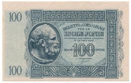 100 DRACME BIGLIETTO A CORSO LEGALE PER LE ISOLE JONIE APRILE 1942 FDS-/FDS - [ 3] Militaire Uitgaven