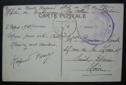 Bondonneau Drôme Par Allan, 1915 Cachet Bleu De L'hôpital Complémentaire Sur Cpa De Montélimar Pour Saint Etienne - Storia Postale