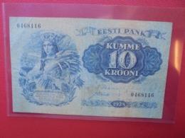 ESTONIE 10 KROONI 1928 CIRCULER (B.5) - Estland
