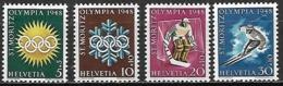 SUISSE    -   1948.    Y&T N° 449 à 452 *.  JO St-Moritz.  Série Complète.  Hockey / Ski. - Ongebruikt