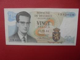 BELGIQUE 20 FRANCS 1964 PEU CIRCULER (B.5) - 20 Franchi