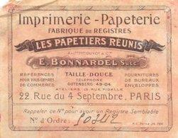 PIE.Z.19-T-1155 : PUBLICITE IMPRIMERIE BONNARDEL PARIS RUE DU 4 SEPTEMBRE. - Publicités