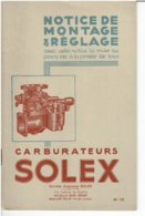 Solex Carburateurs Boekje (notice-montage-reglage) - Cars