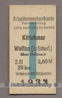 BRD - Pappfahrkarte (Reichsbahn)  :  Klitschmar - Wolfen (Arbeiterwochen) - Bahn