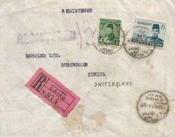 Egypt 1947 Cairo King Farouk Registered Barclays Bank Cover To Dübendorf Switzerland - Brieven En Documenten