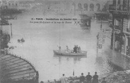 PIE.Z.19-GM-1176 : CRUE DE LA SEINE. RUE DE ROME ET GARE SAINT-LAZARE. - Inondations De 1910