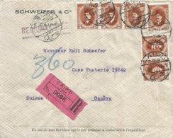 Egypt 1923 Cairo King Farouk Registered Cover To Geneve Switzerland - Egypte