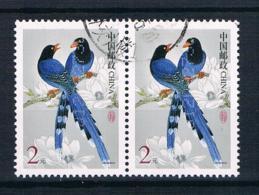 China 2002 Vögel Mi.Nr. 3324 Waagr. Paar Gestempelt - 1949 - ... République Populaire
