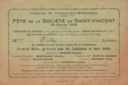 18 VIGNOUX SUR BARENGEON Fête De La Société De Saint Vincent 22 Janvier 1948 (Avec La Chanson Pour La St Vincent La Bara - Frankreich