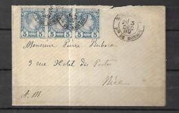 Monaco Lettre  Du 09 12   1889 Pour  NICE    Affranchissement  Bande De 3 Du N° 3 - Briefe U. Dokumente