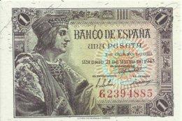 ESPAÑA, BILLETE 1 PESETA  21 DE MAYO 1943  (SIN CIRCULAR) - 1-2 Pesetas