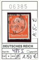 """Deutsches Reich - Deutschland - Allemagne - Michel 485 I Mit Offenem """"D"""" - Oo Oblit. Used Gebruikt - Deutschland"""