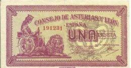 ESPAÑA, BILLETE 1 PESETA  ASTURIAS Y LEON,  AÑO 1936    BC - 1-2 Pesetas
