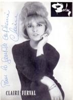 CP - Foto Photo Artiste Chanteuse Claire Ferval - Dédicace Autographe Handtekening - Femmes Célèbres