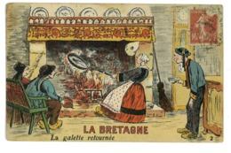 CPA RECETTE LA BRETAGNE LA GALETTE RETOURNEE - Recettes (cuisine)