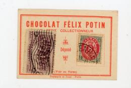 """PETIT CARTON PUBLICITAIRE """"LE PETIT COLLECTIONNEUR"""" DES CHOCOLAT FELIX POTIN AVEC 2 TIMBRES (A VOIR) - Non Classés"""