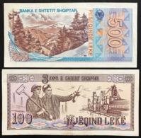 Albania Lotto 4 Banconote 100 + 100 + 200 + 500 Leke  LOTTO 2458 - Albanië