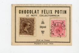 """PETIT CARTON PUBLICITAIRE """"LE PETIT COLLECTIONNEUR"""" DES CHOCOLATS FELIX POTIN AVEC 2 TIMBRES (A VOIR) - Non Classés"""