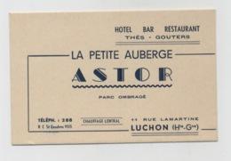 LUCHON 31 CARTE PUBLICITAIRE LA PETITE AUBERGE ASTOR 11 RUE LAMARTINE - Luchon
