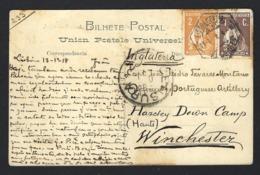 Postal Enviado De LISBOA Para Legação Portuguesa Em PORTMAN SQUARE Londres UK. WWI Ww1 War Military Mail 191~8 - Marcophilie