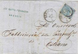 1865 EFFIGIE Sopr. II  Tipo C.20/15 (24) Isol. Su Busta Brescia (8.4) - Storia Postale