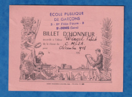 - Billet D'honneur De 1958 - SAINT DENIS - Ecole Publique De Garçons 3 Boulevard Félix Faure - Patrick WINGEL - Banknoten