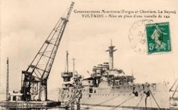 83 LA SEYNE SUR MER FORGES ET CHANTIERS CUIRASSE VOLTAIRE MISE EN PLACE D' UNE TOURELLE DE 240 CLICHE UNIQUE - La Seyne-sur-Mer