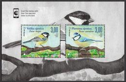 Bosnia Croatia 2019 Europa CEPT National Birds Fauna Parus Major, Parus Caeruleus, Block Souvenir Sheet MNH - Bosnien-Herzegowina