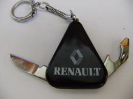 Année 60 1 Porte Clé Métal Argenté Et Plastique Noir 2 Couteaux Lames Pliante Pour RENAULT - Porte-clefs