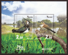 Bosnia And Herzegovina 2019 Europa CEPT National Birds Fauna Vanellus Vanellus Eremophila Alpestris, Block MNH - Bosnien-Herzegowina