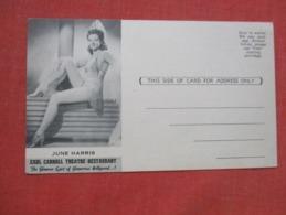 June Harris  Earl Carroll Theatre Restaurant    Ref 3629 - Entertainers