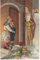 VIVE ST NICOLAS - SUPERBE CPA GAUFREE - Enfants Jouets -  Cachet De La Poste 1908 - Saint-Nicolas