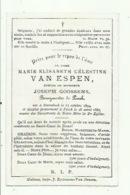 Marie Van Espen -gestorven Te Perck (Joseph Goossens , Bourgmestre De Perck) - Devotieprenten