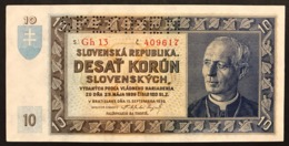 Slovacchia Slovakia 10 Korun 1939  P4s  Lotto 2560 - Slowakije