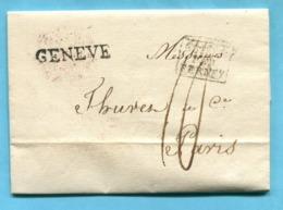 Faltbrief Von Genève Nach Paris 1822 - Suisse