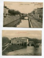 82  MOISSAC 2 Cartes Canal Du Midi 1903 Et Le Moulin Sur Tarn 1903 Timb   D12 2019 - Moissac