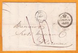 1857 - Lettre Pliée Avec Correspondance En Italien De London, GB Vers Firenze, Italie - VIA Calais Et Paris, France - Marcophilie