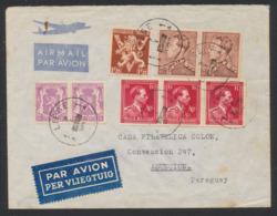 Affranch. Mixte (Poortman / Col Ouvert) Sur Lettre Par Avion De Liège (1948) Vers Asuncion (Paraguay) - 1936-1951 Poortman