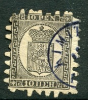 FINLAND 1867 10 P.. Black/buff Roulette II, Used. Michel 7Bx - 1856-1917 Russian Government