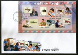 St. Thomas & Prince Islands 2010 Stamp & Collectors Of Portugal Sc 2333 Imperf M/s FDC # 19140 - Stamps On Stamps